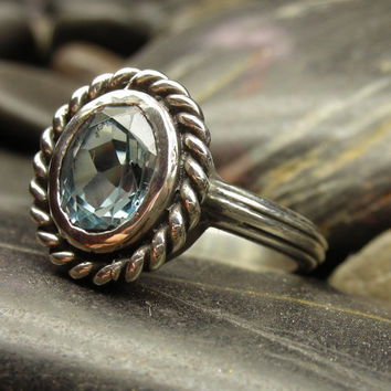 Blue topaz antique style ring in sterling silver - antique tools, antique construction, bohemian, boho, gypsy