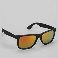 Rubberized Black Red Flash Square Sunglasses