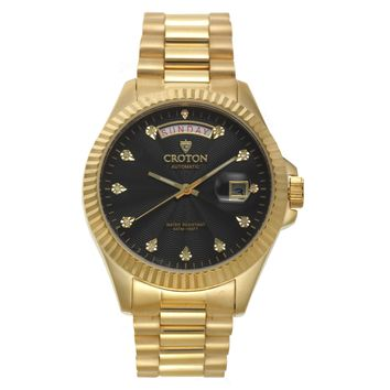 Croton Mens Stainless steel Goldtone Diamond Marker Watch