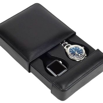DiLoro Italian Leather Double Travel Watch Case in Black Made in Italy