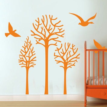 I200 Wall Decal Vinyl Sticker Art Decor Design tree nature newborn baby birds lullaby air branch leaf spring summer autumn winter