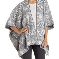 Med Gray Combo Geometric Print Poncho Cardigan by Charlotte Russe