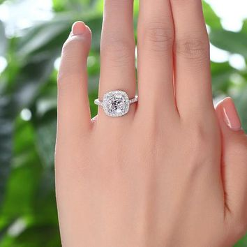 Engagement Ring, 3 Carat, Cushion Cut, Solid Sterling Silver Ring