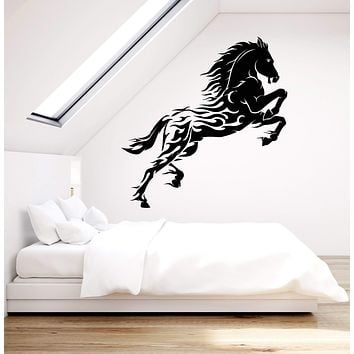 Vinyl Wall Decal Forks Of Flame Fantastic Horse Wild Mustang Horse Stickers (2710ig)