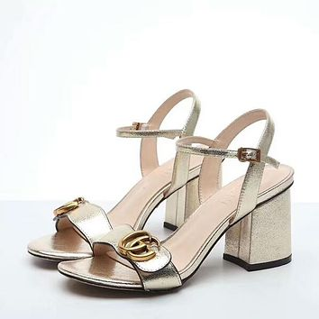 GUCCI Trending Women Stylish Stripe Princess High Heels Golden I-OMDP-GD
