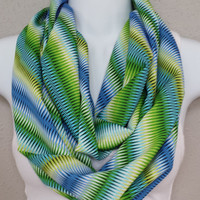 Green Blue Chevron Infinity Scarf Zig Zag Circle Scarf Chevron Eternity Loop Fashion Scarf Womens Scarves Printed Scarf Patterned Scarf