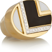 David Webb - 18-karat gold, platinum, diamond and enamel ring