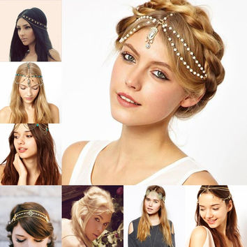 2017 Sexy Gold Hair Jewelry Pearl Chains Lace Wedding Hair Accessories Head bridal Hair Accessories Free shipping