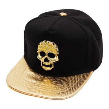 With Box Packing  Newest Metal Skull Style Baseball Cap For Man And Woman Hat Cap Hip Hop