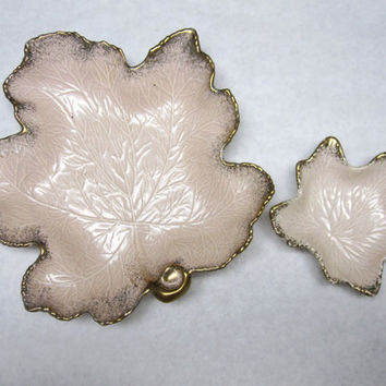Large Maple Leaf Pink Chip Dip Veggie Tray Mid Century California Pottery Signed Numbered