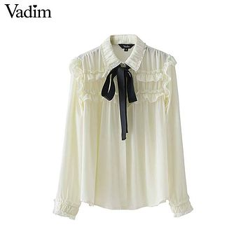 Vadim women sweet bow tie neck ruffles chiffon shirts pleated pearls long sleeve loose blouse ladies casual tops blusas LT2315