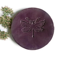 Purple Dragonfly Plate Elegant Ceramic Ring Dish Eco Friendly Pottery Plate