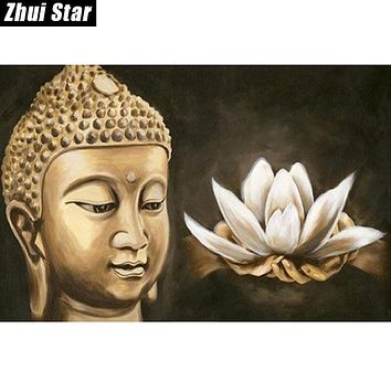 "Zhui Star Full Square Diamond 5D DIY Diamond Painting ""Buddha religion"" 3D Embroidery Cross Stitch Mosaic Painting Decor BK"