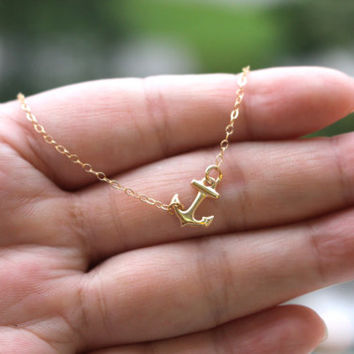 Tiny Gold Filled Anchor Necklace, Sideways Gold Anchor Necklace, 14k Gold Filled Anchor Necklace, gift for sister, girlfriend, best friends