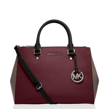 DCCKHI2 Michael Kors Jet Set Travel Medium Sutton Handbag (Medium, Merlot/Cinder)