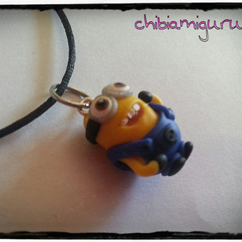 Minion charm chibi necklace with random face in polymer clay