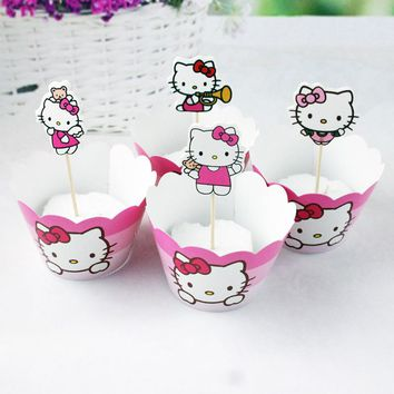 Kids Favors DIY Decoration Party Baby Shower Cake Toppers Hello Kitty Theme Cupcake Paperboard Wrappers Birthday Supplies 24pcs