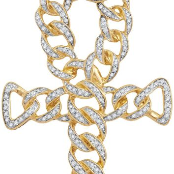 10kt Yellow Gold Mens Round Diamond Ankh Cross Cuban Link Charm Pendant 7/8 Cttw