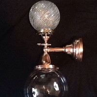Late 1800s Brass Wall Light Gas and Electric Combo 2 Large Glass Globes