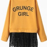 "Orange ""Grunge Girl"" Print Black Lace Panel Sweatshirt"
