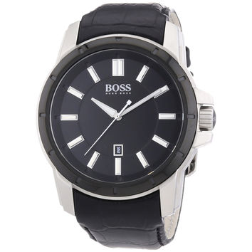 Hugo Boss 1512922 Men's Black Dial Black Leather Strap Date Watch