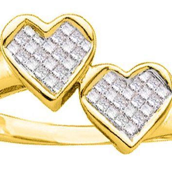 14kt Yellow Gold Womens Princess Diamond Double Heart Love Ring 1/4 Cttw
