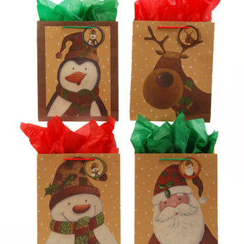 Kraft Printed Christmas Patchwork Gift Bags [Squar Case Pack 120