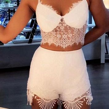 Celebrity Sexy Lace White Set