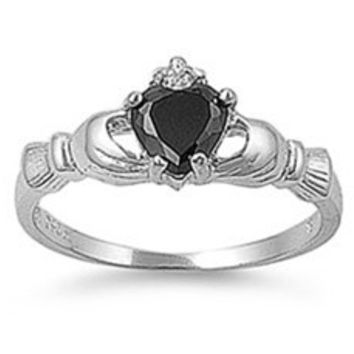 925 Sterling Silver CZ Claddagh Benediction Black Ring 9MM