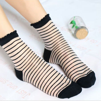 Glitter Mesh Women Socks Horizontal Stripe Crystal Glass Socks Woman/Ladies Summer All-Size Ultra-Thin Female Bas