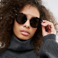 Spitfire Round Sunglasses with Metal Brow Bar in Black at asos.com