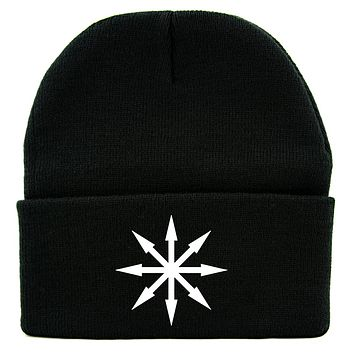 Chaos Star Symbol of Eight Cuff Beanie Knit Cap Warhammer Gothic Occult Alternative Clothing