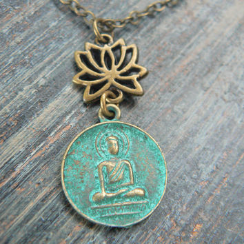 spiritual yoga necklace lotus flower necklace buddah necklace buddha  in yoga new age meditation zen hipster boho gypsy hippie style