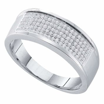 Sterling Silver Womens Round Diamond Wedding Anniversary Band Ring 1/3 Cttw