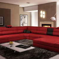 Divani Casa Polaris Dark Red Italian Leather Sectional Sofa