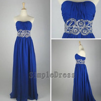 Real Beach Sweetheart Floor-length Chiffon Sashes Blue Long Prom/Evening/Party/Homecoming/Bridesmaid/Cocktail/Formal Dress 2013 New Arrival