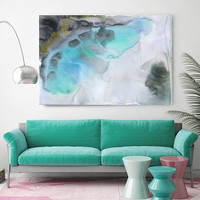 "Watercolor Symphony 94. Contemporary Abstract Green Aqua Canvas Art Print up to 72"" by Irena Orlov"