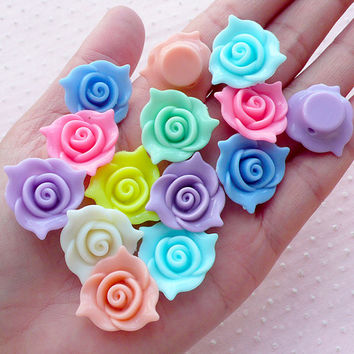Acrylic Rose Beads Floral Bead (21mm / Pastel Color / 10pcs) Loose Plastic Bead Focal Bead Kawaii Chunky Jewellery Cute Girl Jewelry CHM2094