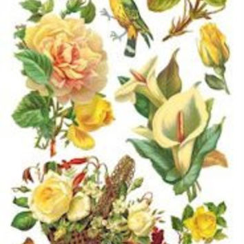 Yellow Rose Victorian Stickers