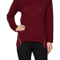 Textured Knit Sweater With Zipper Detailing