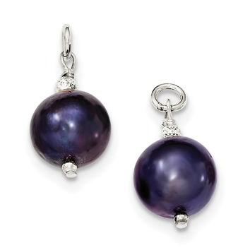 Sterling Silver FW Cultured Peacock Pearl and Bead Hoop Earring Enhancers QE9326