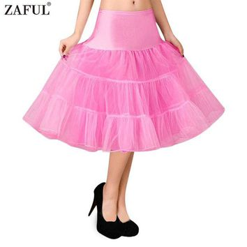 ONETOW ZAFUL Petticoat Skirt Retro Boneless Body wedding Gauze Women 5 Solid Colors Tutu Puff Skirt Vintage Petticoat Swing Ball-gown