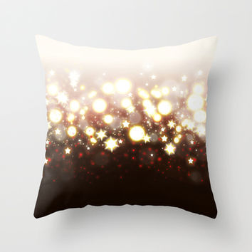 Stars Can't Shine Without Darkness sparkly lights stardust and fireworks art Throw Pillow by Bad English Cat