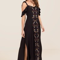 Evita Floral Embroidery Maxi Dress