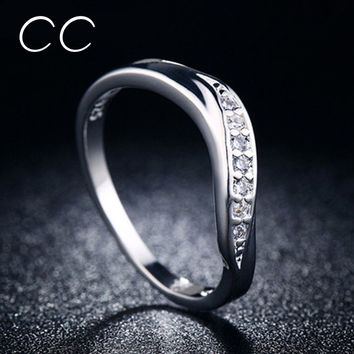 Fashion Jewelry Simple Design Slim Rings For Women Round Finger Rings Engagement Wedding Bijoux Female Anel Accessories CC031