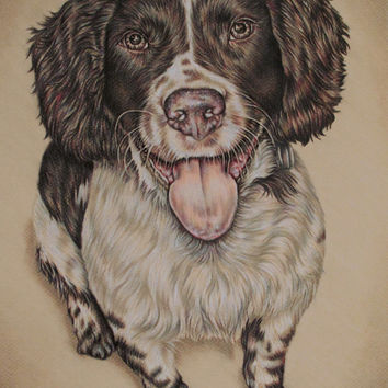 Personalized Pet Portrait - Custom Drawing, in Color of ONE PET -Dog Portrait - Pet Sympathy - Pet memorial - Gift for Pet lover, Customized