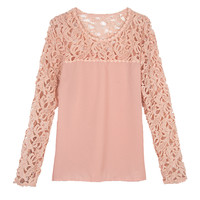 Pink Crochet Lace Panel Chiffon Blouse - Choies.com