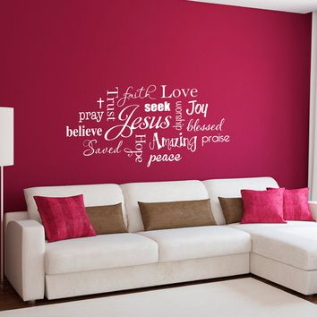 Christian Wall Decal - Jesus Subway Art - Trust Jesus - Joy Faith Love - Large