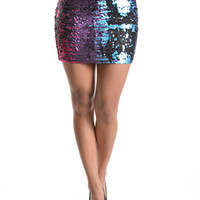 (and) Multi-color sequins mini bodycon skirt