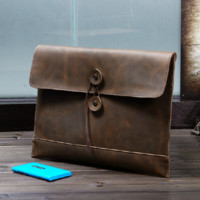 Handmade vintage genuine crazy horse leather business envelope bag (J128)